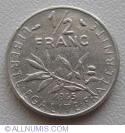 Image #1 of 1/2 Franc 1965 - Big letters on reverse