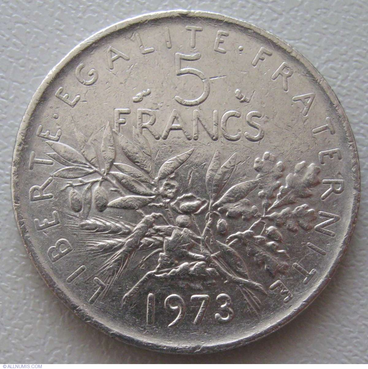 5 francs 1973 fifth republic 1971 1985 france coin 937. Black Bedroom Furniture Sets. Home Design Ideas