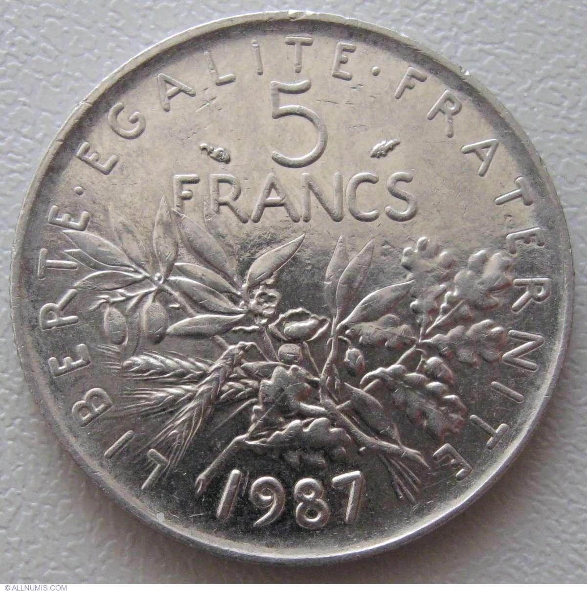 5 Francs 1987 Fifth Republic Francs 1986 2001 France Coin 934