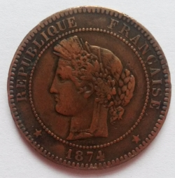 Image #2 of 10 Centimes 1874 K