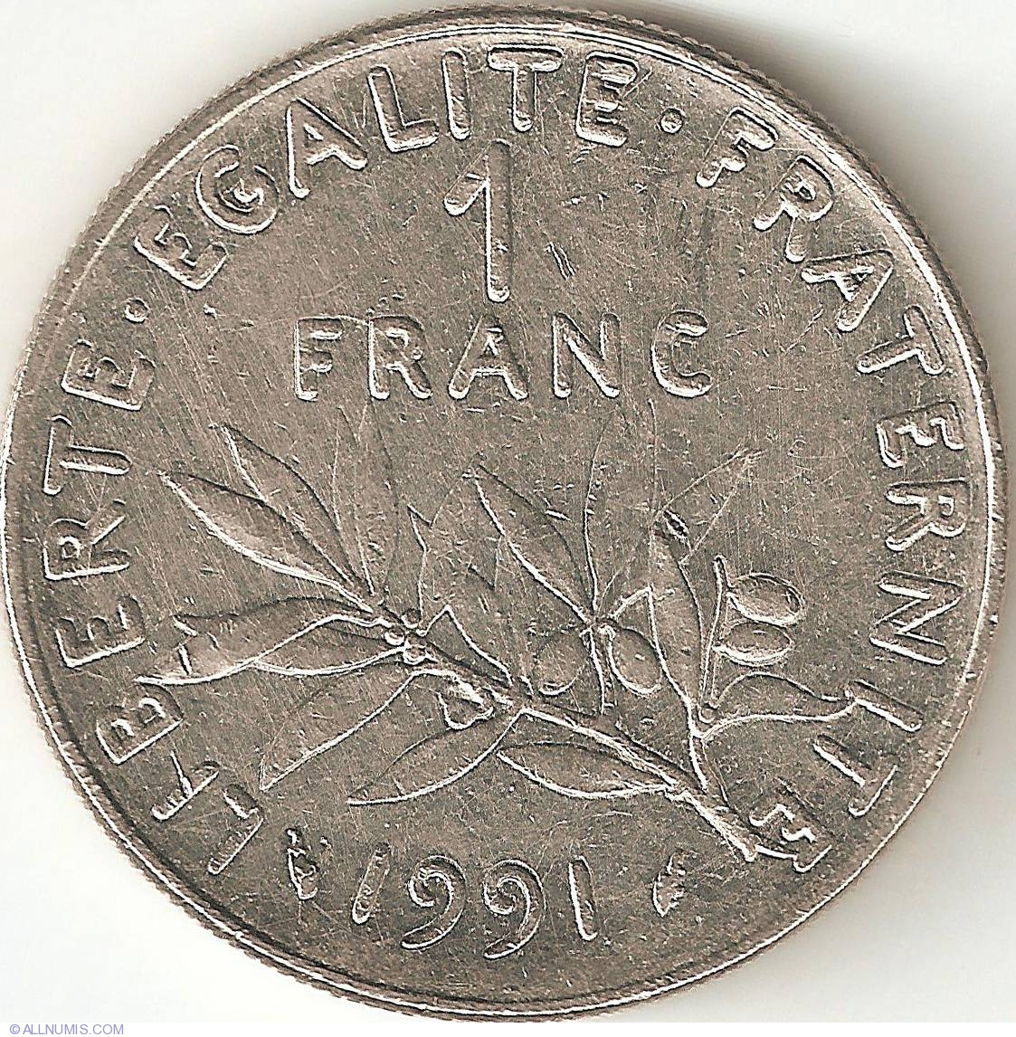 1 franc 1991 fifth republic francs 1986 2001 france for France francs