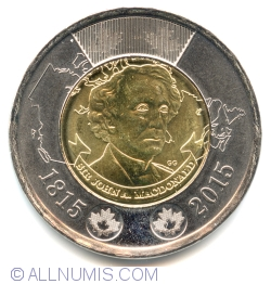 Image #2 of 2 Dollars 2015 - Sir John A. Macdonald