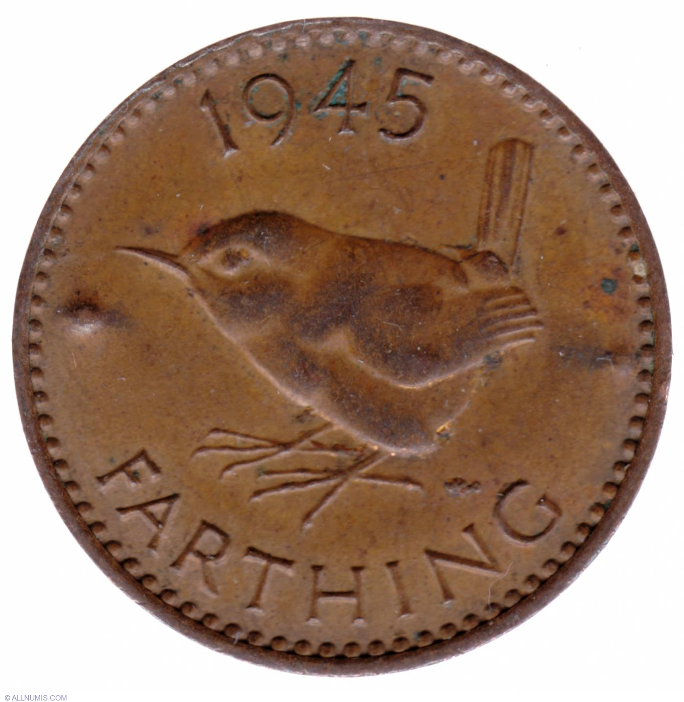 Coin of 1 Farthing 1945 from Great Britain - ID 15873