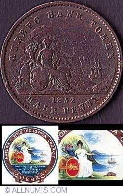 Image #2 of Half Penny 1852 - Quebec Bank Token