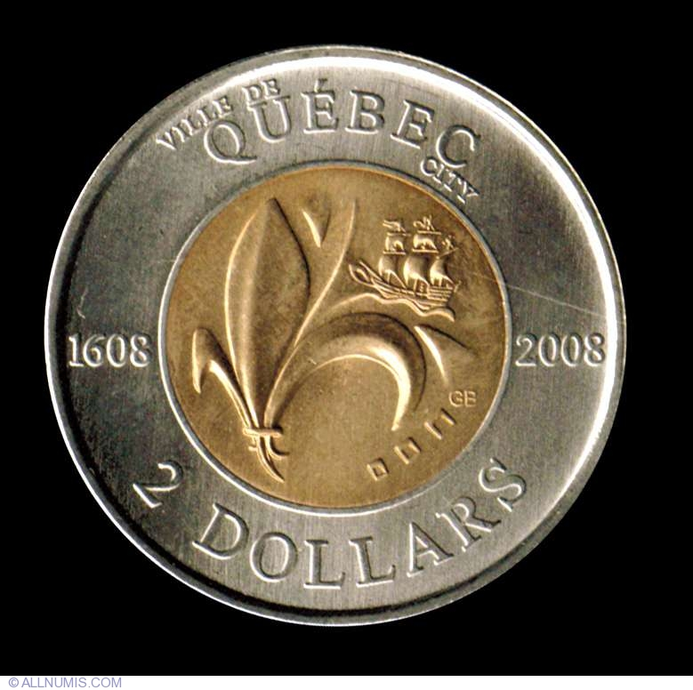 2 Dollars 2008 Quebec 400th Anniversary Commemorative