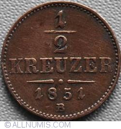Imaginea #2 a 1/2 Kreuzer 1851 B