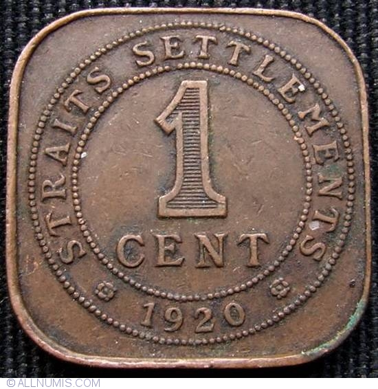 1 Cent 1920 British Colony 1867 1946 Straits Settlements Coin 13617