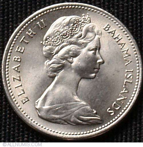 North & Central America 57h 25 Cents Queen Elizabeth Ii 1966 Bahamas