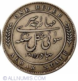 Image #2 of 1 Rupee 1891