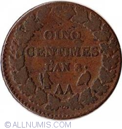 Image #2 of 5 Centimes 1799-1800 (L'An 8) AA