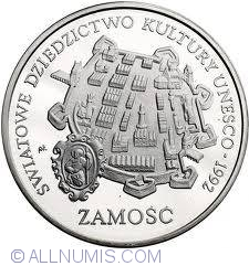 Imaginea #1 a 300000 Zlotych 1993 - UNESCO World Cultural Heritage - 1992 - Zamosc