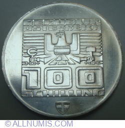 Image #1 of 100 Schilling 1975 - XII Winter Olympic Games, Innsbruck 1976 (Vienna Mint)