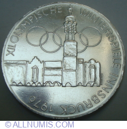 Image #2 of 100 Schilling 1975 - XII Winter Olympic Games, Innsbruck 1976 (Vienna Mint)