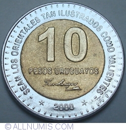 Image #1 of 10 Pesos Uruguayos 2000 - 5 pointed star to each side of date