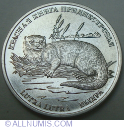 Image #2 of 1 Ruble 2018 - Red Book of Transnistria - Eurasian Otter (Lutra lutra)