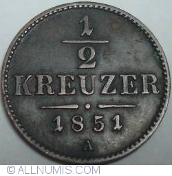 Imaginea #1 a 1/2 Kreuzer 1851 A