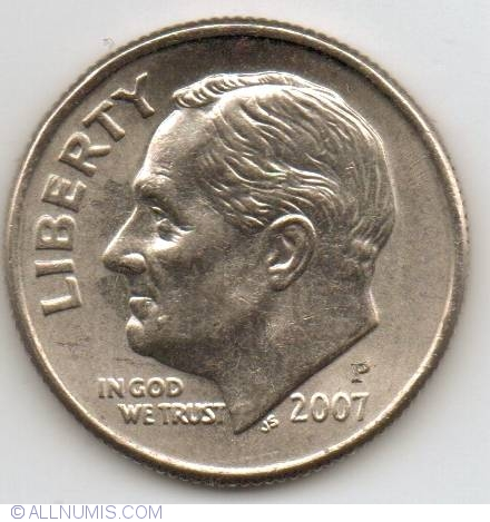 2007 P Roosevelt Dime BU from Original Bank Wrap