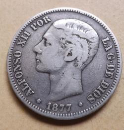 Image #2 of 5  Pesetas  1877  DE - M