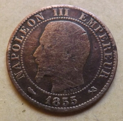5 Centimes 1855 B (Dog's Head)