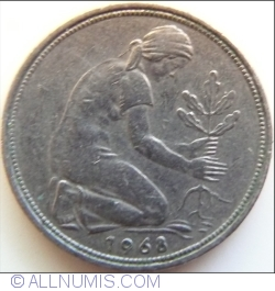 Image #2 of 50 Pfennig 1968 J