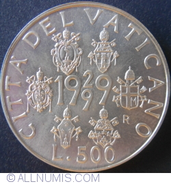 Image #1 of 500 Lire 1999 (XXI) - 70th Anniversary - Vatican City Arms of Six Popes