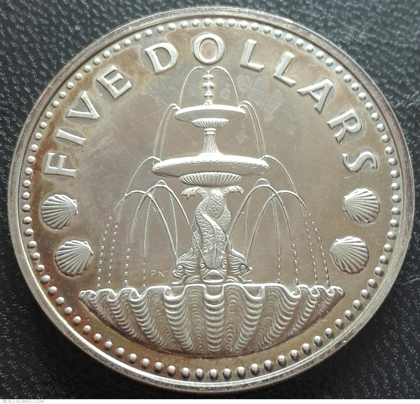 elf Barbados Dollar 1974 FM Proof Flying Fish
