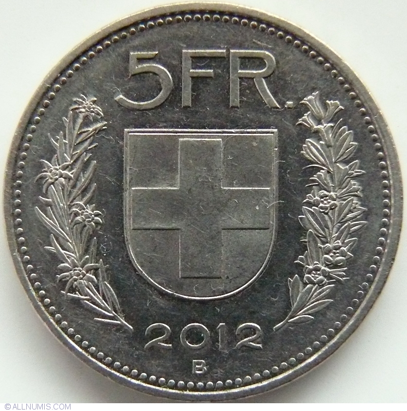 5 francs 2012 confederation 1850 2017 5 francs switzerland coin 37202. Black Bedroom Furniture Sets. Home Design Ideas