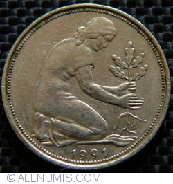 Imaginea #2 a 50 Pfennig 1991 J