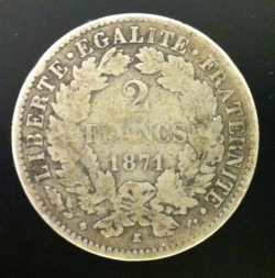 Image #1 of 2 Francs 1871 K (small K)