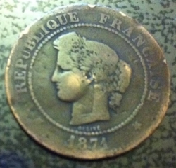 Image #2 of 5 Centimes 1871 A