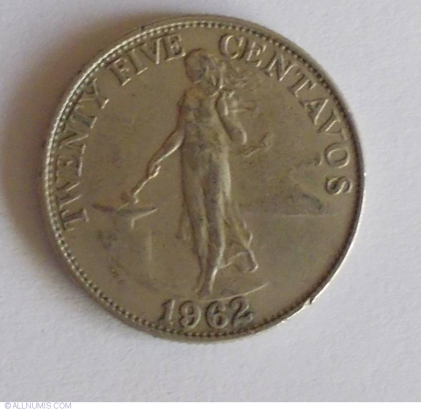 25 Centavos 1962 Republic 1961 1980