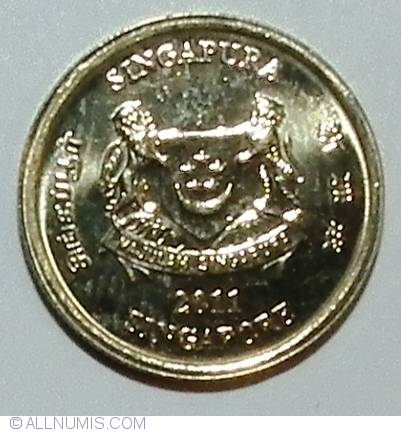 BOTH DATING 2011 2 NICE COINS from SINGAPORE 5 /& 10 CENTS