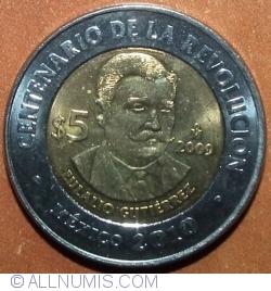 Image #2 of 5 Pesos 2009 -  Eulalio Gutiérrez