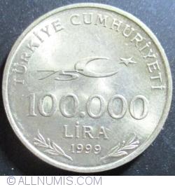 Image #1 of 100,000 Lira 1999 - 75th Anniversary of Republic