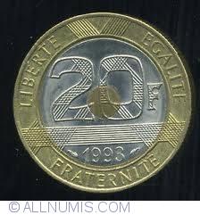 Image #1 of 20 Francs 1993 Mont Saint Michel