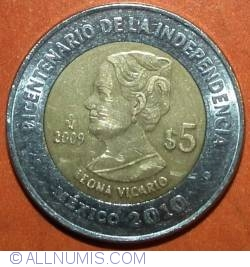 Image #2 of 5 Pesos 2009 - Leona Vicario