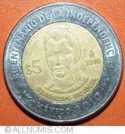 Image #2 of 5 Pesos 2010 - Guadalupe Victoria