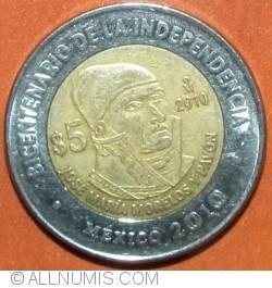 Image #2 of 5 Pesos 2010 - José Maria Morelos y Pavon