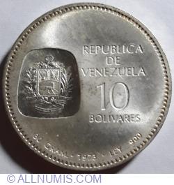 10 Bolivares 1973 - Centenary of Simon Bolivar
