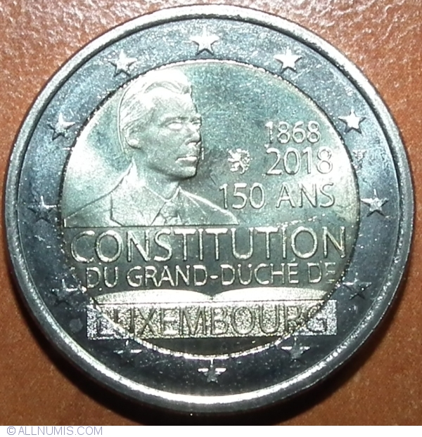 """Luxembourg 2 euro coin 2018 /""""150 years since the Constitution of Luxembourg/"""" UNC"""