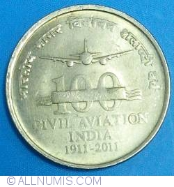 Image #1 of 5 Rupees 2011 (C) - 100 Years of Civil Aviation