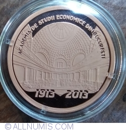 Image #2 of 1 Leu 2013 - The centennial anniversary of the Academy of High Commercial and Industrial Studies (the present-day Bucharest University of Economic Studies) - coppered tombac coin