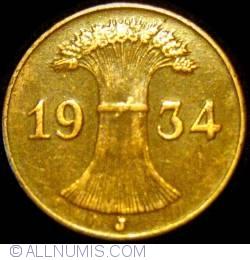 Image #2 of 1 Reichspfennig 1934 J