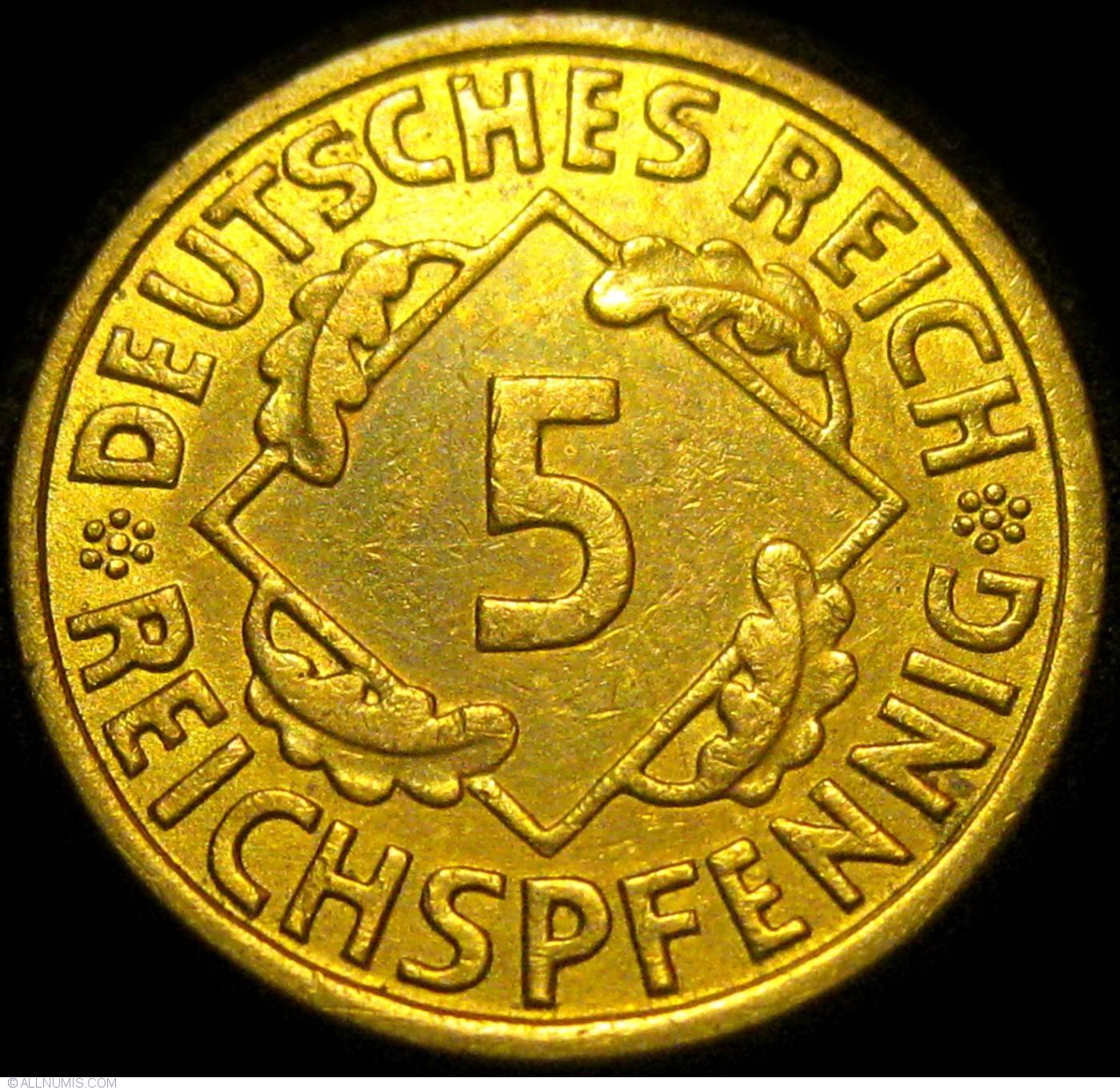 5 Reichspfennig 1935 A Third Reich 1933 1945 Germany Coin 23729