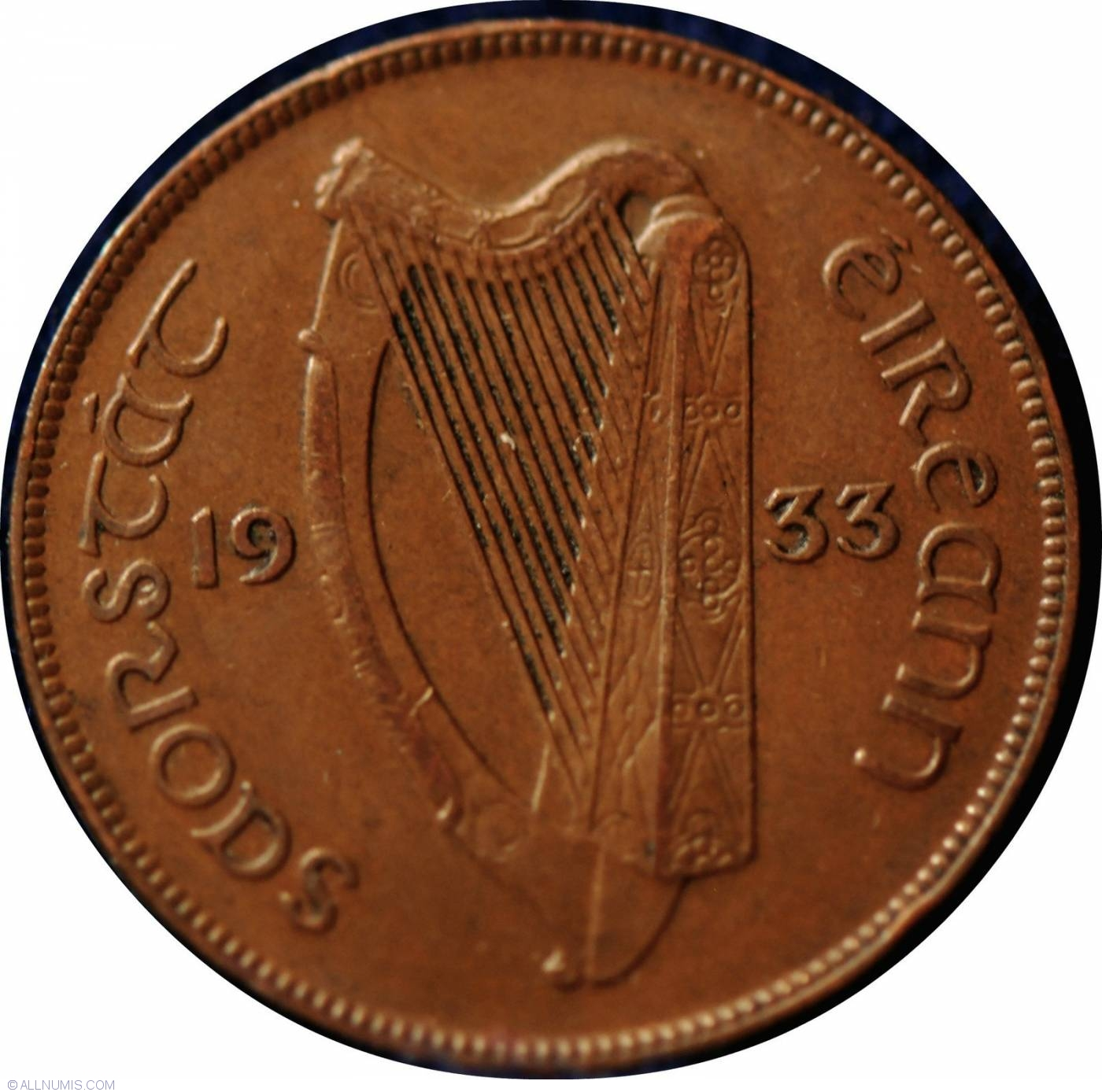 Free State Issue Scarcer Year Ireland Irish One Penny Coin Minted 1933