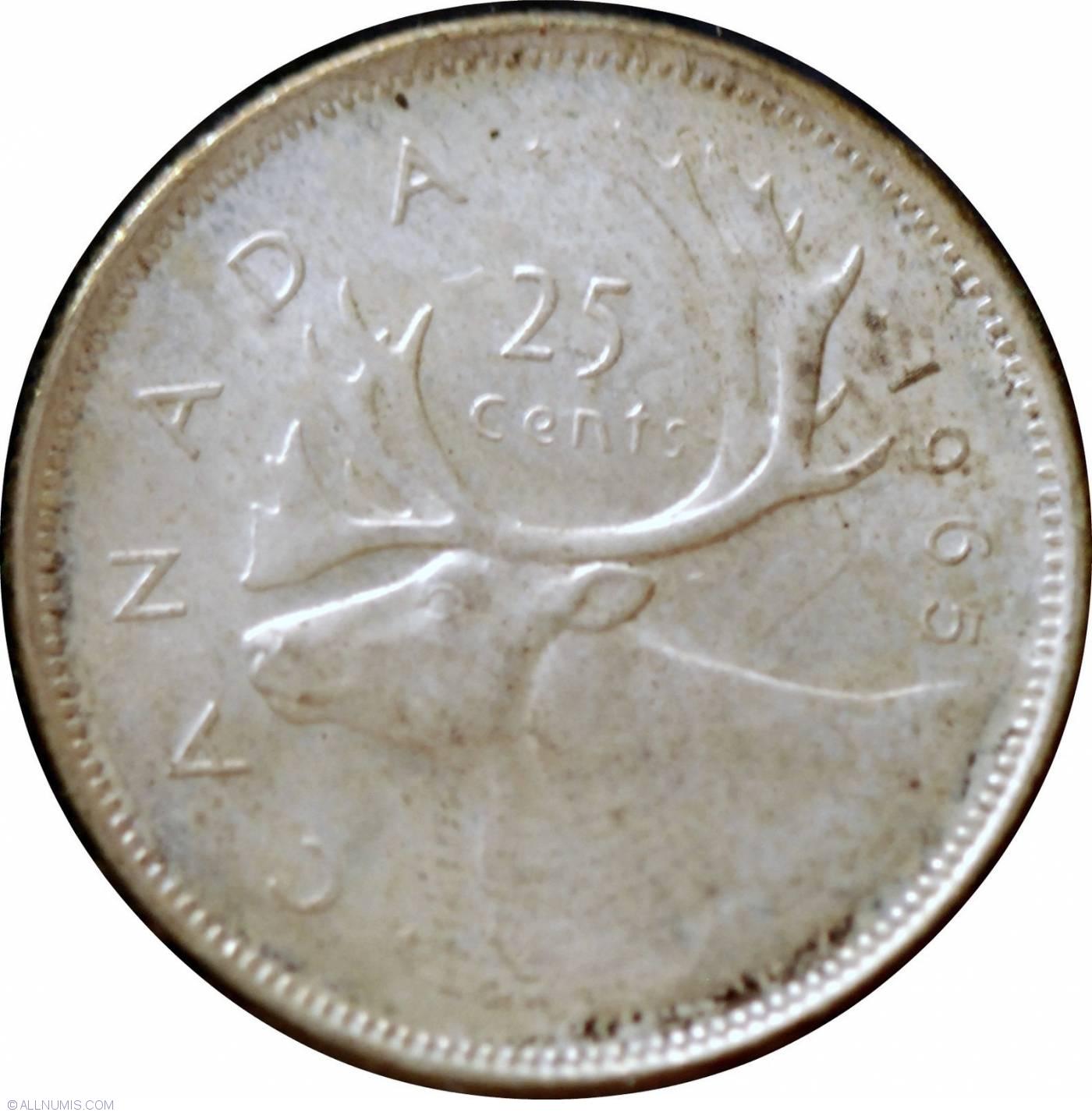 25 Cents 1965 Elizabeth Ii 1953 Present Canada Coin 24553