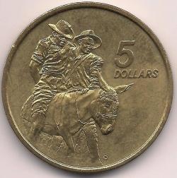 Image #1 of 5 Dollars 1990 - ANZAC memorial