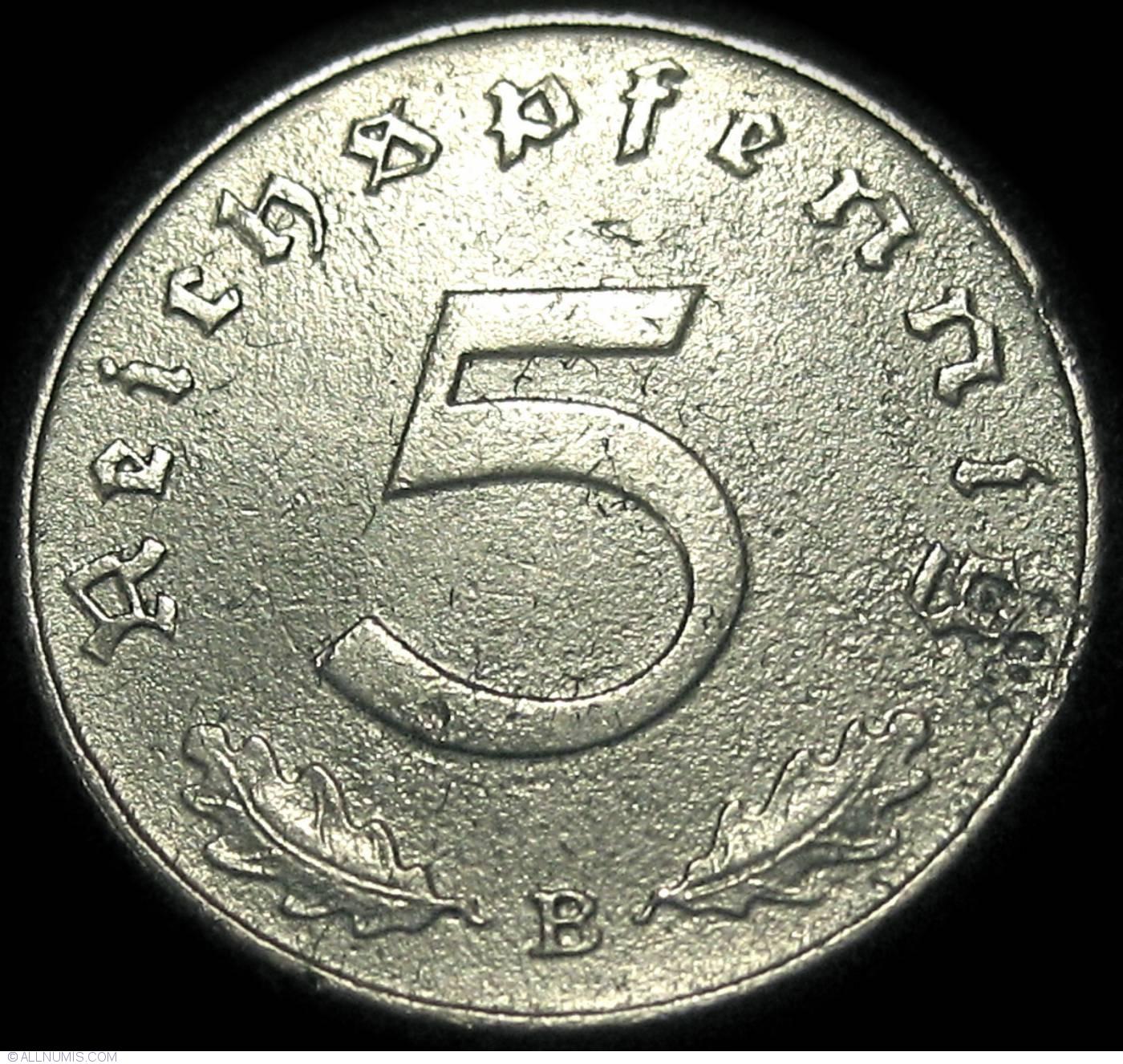 OLD COIN OF THIRD REICH GERMANY 5 REICHSPFENNIG 1938 A BERLIN SWASTIKA