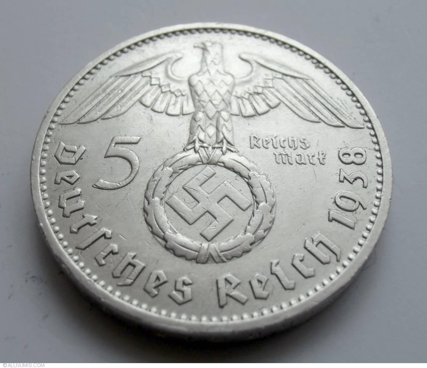 LARGE 1938 PAUL VON HINDENBURG GERMAN 5 REICHSMARK WWII COMMEMORATIVE COIN