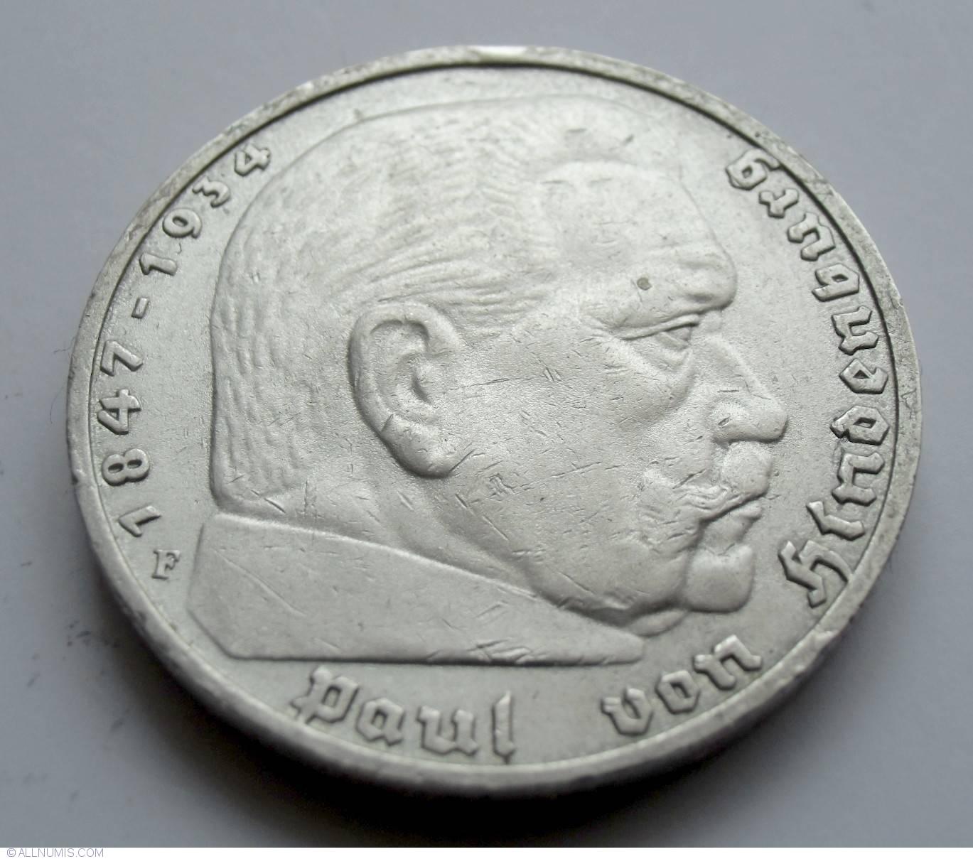 5 Reichsmark 1938 F Paul Von Hindenburg Third Reich